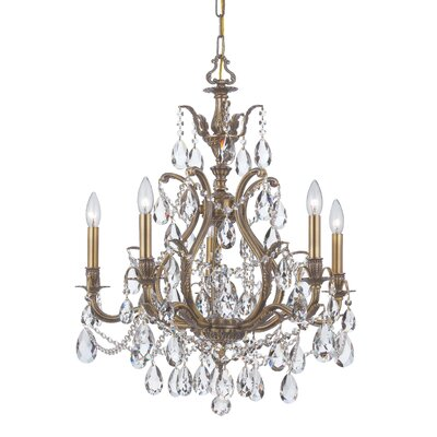 Dawson 5-Light Crystal Chandelier Finish: Antique Brass, Crystal Type: Clear Hand Cut