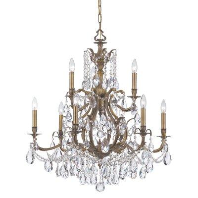 Dawson 9-Light Crystal Chandelier Finish: Antique Brass, Crystal Type: Clear Hand Cut