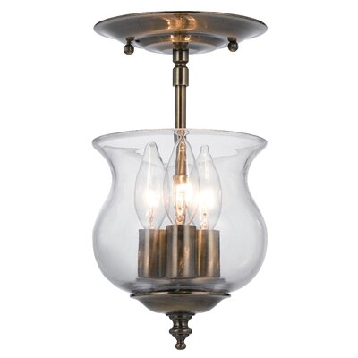 Ascott 3-Light Semi Flush Mount Finish: Antique Brass