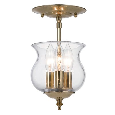 Ascott 3-Light Semi Flush Mount Finish: Polished Brass