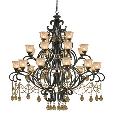 Norwalk 24-Light Shaded Chandelier Crystal: Golden Teak Swarovski Strass