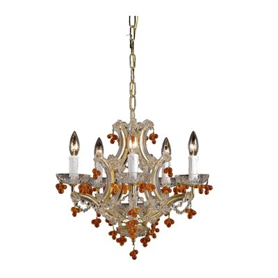 Mailloux 5-Light Candle-Style Chandelier Finish: Polished Brass, Crystal Color: Blue