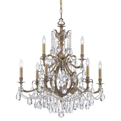 Dawson 9-Light Crystal Chandelier Finish: Antique Brass, Crystal Type: Swarovski Elements