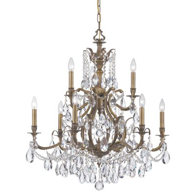 Dawson 9-Light Crystal Chandelier Finish: Antique Brass, Crystal Type: Swarovski Spectra