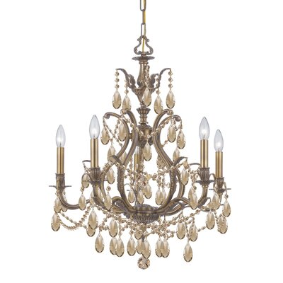 Dawson 5-Light Crystal Chandelier Finish: Antique Brass, Crystal Type: Golden Teak Hand Cut