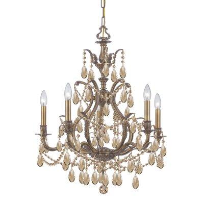 Dawson 5-Light Crystal Chandelier Finish: Antique Brass, Crystal Type: Golden Teak Hand Cut
