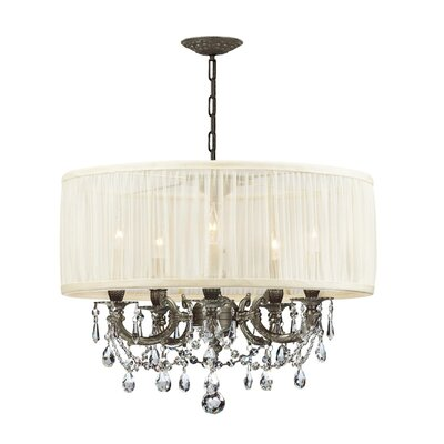 Corrinne Modern 5-Light Drum Chandelier Finish: Pewter, Shade: Antique White, Crystal Type: Swarovski Spectra
