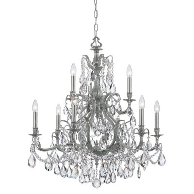 Dawson 9-Light Crystal Chandelier Finish: Pewter, Crystal Type: Swarovski Elements