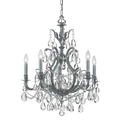 Dawson 5-Light Crystal Chandelier Crystal Type: Clear Hand Cut, Finish: Pewter