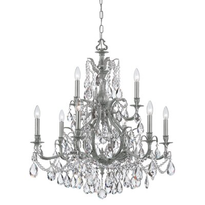 Dawson 9-Light Crystal Chandelier Finish: Pewter, Crystal Type: Swarovski Spectra