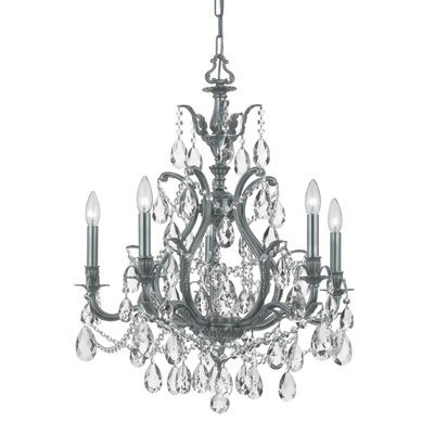 Dawson 5-Light Crystal Chandelier Crystal Type: Swarovski Elements, Finish: Pewter