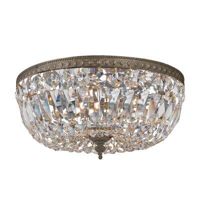 Crystal Basket 3-Light Flush Mount