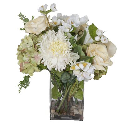 Faux White Flowers And Succulents In Glass Vase