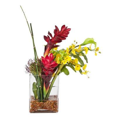 Faux Tropical Flower in Glass Vase WG37740