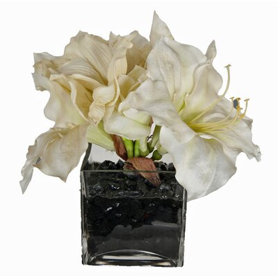 Faux White Amaryllis In Glass Vase