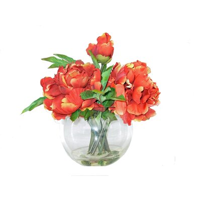 Faux Peonies in Glass Vase