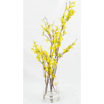 Faux Forsythia Floral Arrangement in Decorative Vase