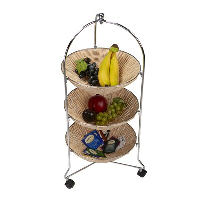 3 Tier Round Rolling Kitchen Cart