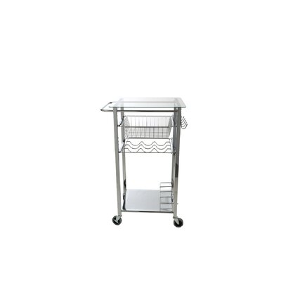 Glass Top Mobile Kitchen Cart
