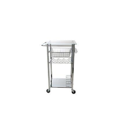 Glass Top Mobile Kitchen Cart GLASSTCART-SIL