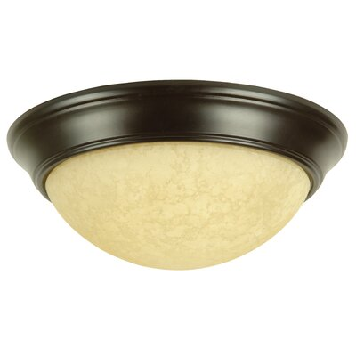 Salawu Flush Mount Ceiling Light Architectural Step Pan in Brushed Nickel Size: 13, Finish: Oiled Bronze