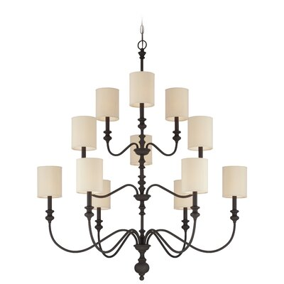 Golden Bronze Willow Park 12-Light 3-Tier Chandelier