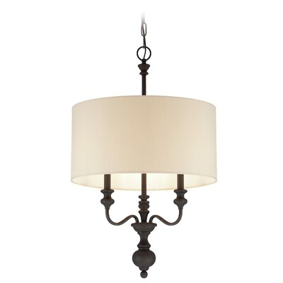 Ant�nio 3 Light Drum Pendant Finish: Gothic Bronze/Beige