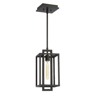 Tianna 1-Light Mini Pendant Finish: Fired Steel, Size: 12.64 H x 7 W x 7 D