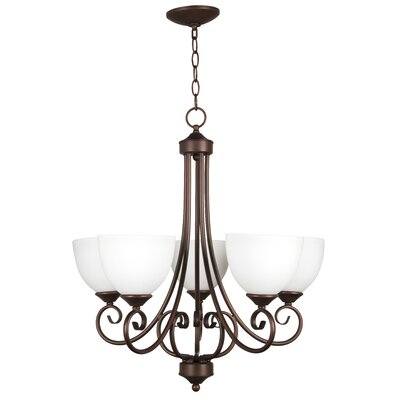 Raleigh 5 Light Chandelier Finish: Oiled Bronze with White Frosted Glass