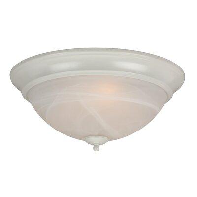 Hymera Arch Pan Alabaster 2 Light Flush Mount Finish: White, Size: 5.5H x 15W