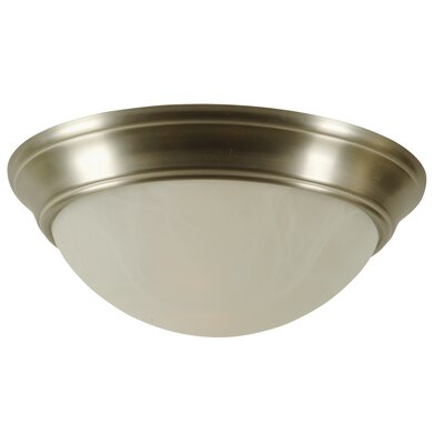 Salawu Flush Mount Ceiling Light Architectural Step Pan in Brushed Nickel Size: 13