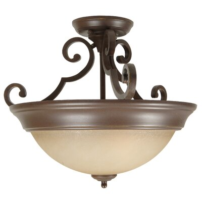 Miranda Three Arm 2-Light Semi-Fl Finish: Aged Bronze