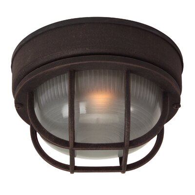 Dwight 1-Light Metal Flush Mount Finish: Rust