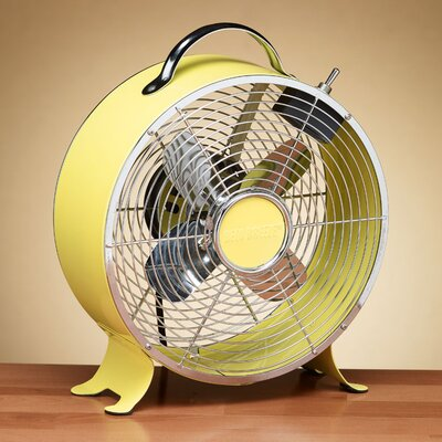 Retro Metal Box Desk Fan in Yellow