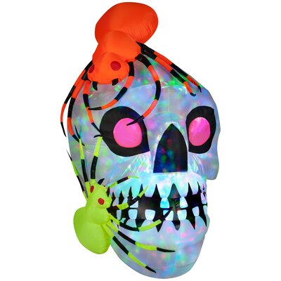 Light Show Skull with Spiders - Kaleidoscope Halloween Decoration