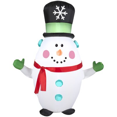 Airblown Inflatables Christmas Happy Snowman with Snowflake Top Hat Decoration 88349X
