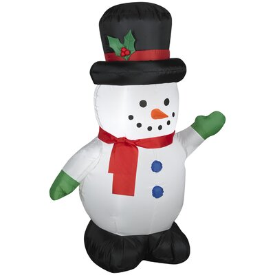 Airblown Inflatables Christmas Snowman with Holiday Top Hat Decoration