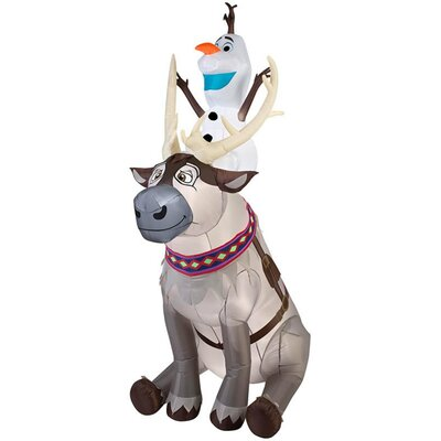 Airblown Olaf Sitting on Sven Scene Large Disney Inflatable G-11431