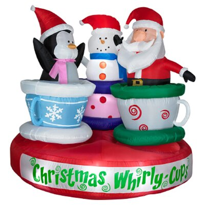 Airblown Animated Tea Cup Ride Christmas Decoration 85984X