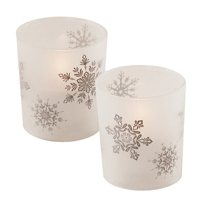 Snowflakes Glass Unscented Candle RBRS9074 40815156
