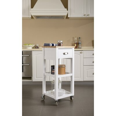 Kitchen Cart with Natural Rubberwood Top Base Finish: White
