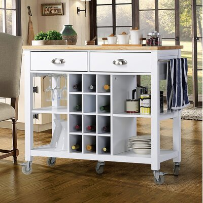 Joslyn Kitchen Island with Natural Rubberwood Top Base Finish: White
