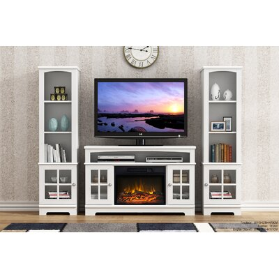 Dondre 45 TV Stand with Fireplace Finish: White