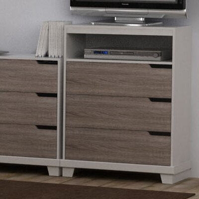 Waterloo 3 Drawer Media Chest Color: White/Sonoma