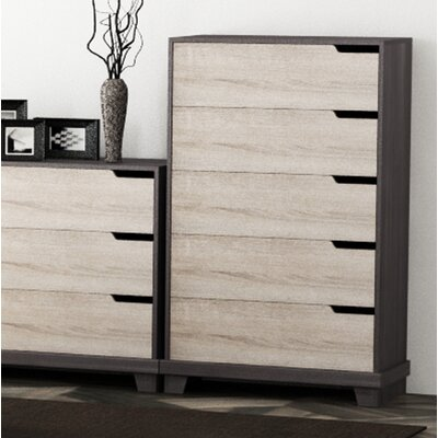 Waterloo 5 Drawer Chest Color: Java Brown/Sonoma