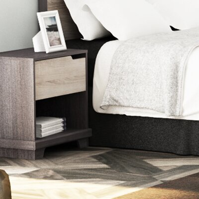 Waterloo 1 Drawer Nightstand Color: Java Brown/Sonoma