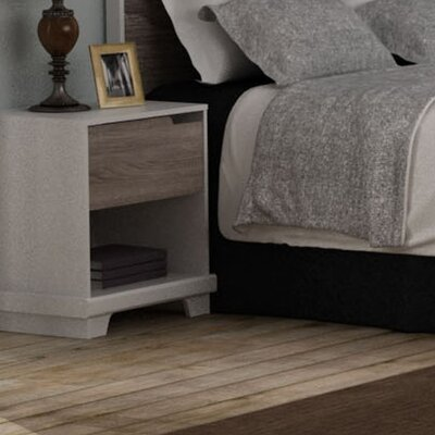 Waterloo 1 Drawer Nightstand Color: White/Sonoma