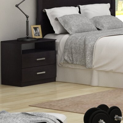 Alexander 2 Drawer Nightstand Finish: Black Brown