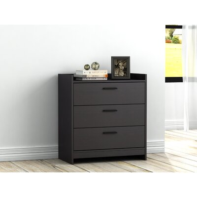 Central Park 3 Drawer Chest Color: Black Brown