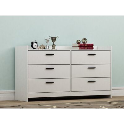 Central Park 6 Drawer Dresser Color: Frost White